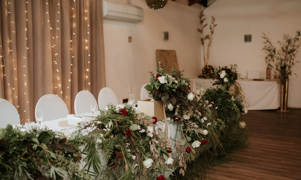 Tables set up with Wedding Decorations